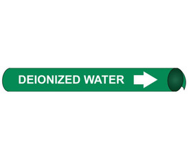 Deionized Water Precoiled White On Green Pipe Marker - Directional Water Pipe Marker Precoiled, White text on Green