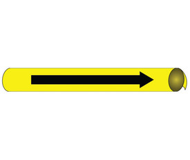 Directional Arrow Precoiled Pipe marker Multi Sizes & Colors - Directional Water Pipe Marker Precoiled, Black text on Yellow Arrow