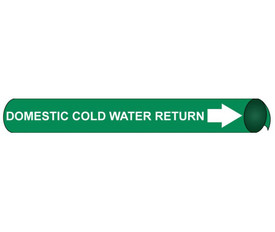 Domestic Cold Water Return Precoiled Pipe marker White Green - Precoiled Pipe Marker Domestic Cold Water Return, White text on Green