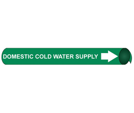 Domestic Cold Water Supply Precoiled Pipe marker White Green - Precoiled Pipe Marker Domestic Cold Water Supply, White text on Green