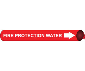 Fire Water Protection Strap On Pipe marker White On Red - Fire Water Protection Pipe Marker Multi Sizes, White text on Red