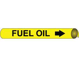 Made in USA Fuel Oil Precoiled Pipe marker Multi Sizes - Fuel Oil Pipe Marker Precoiled Multi Sizes, Black text on Yellow