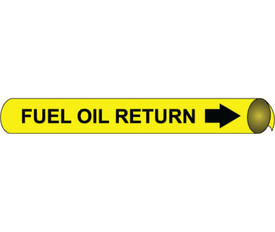 Fuel Oil Return Precoiled Pipe marker - Fuel Oil Return Pipe Marker Multi Sizes, Black text on Yellow
