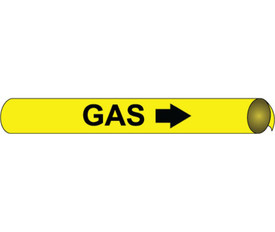 Made in USA Gas Precoiled Pipe marker Black On Yellow - Gas Pipe Marker Precoiled Multi Sizes, Black text on Yellow