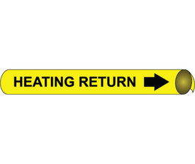 Heating Return Pipe marker Black On Yellow - Heating Return Pipe Marker Multi Sizes, Black text on Yellow
