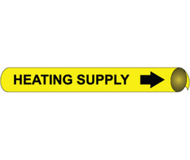 Made in USA Heating Supply Pipe marker Black On Yellow - Heating Supply Pipe Marker Multi Sizes, Black text on Yellow