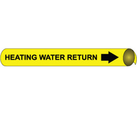 Heating Water Return Precoiled Pipe marker Black On Yellow - Heating Water Return Pipe Marker Multi Sizes, Black text on Yellow