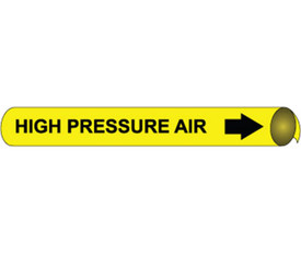 High Pressure Air Pipe marker Black On Yellow - Pipe Marker High Pressure Air Wrap Around Multi Size, Black text on Yellow