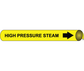 High Pressure Steam Wrap Around Pipe marker - Pipe Marker High Pressure Steam Wrap Around, Black text on Yellow