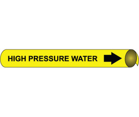 High Pressure Water Strap On Black On Yellow Pipe marker - Pipe Marker for High Pressure Water, Black text on Yellow