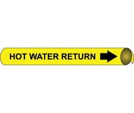 Precoiled & Strap On Hot Water Return Pipe marker - Precoiled Pipe Marker Hot Water Return, Black text on Yellow