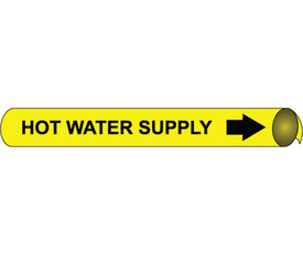 Strap On Pipe marker Label For Hot Water Supply - Pipe Marker Label for Hot Water Supply, Black text on Yellow