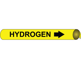 Precoiled Black On Yellow Pipe marker Label For Hydrogen - Precoiled Pipe Marker Label for Hydrogen, Black text on Yellow