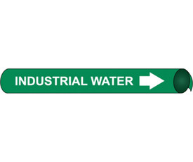 Precoiled & Strap On Pipe marker Label For Industrial Water - Precoiled Pipe Marker Label for Industrial Water, White text on Green