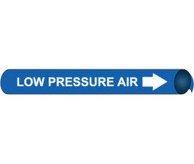 Precoiled And Strap On Pipe marker Label For Low Pressure Air - Precoiled Pipe Marker Label for Low Pressure Air, White text on Blue