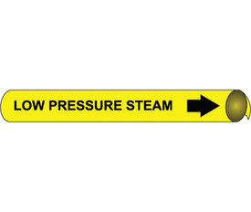 Precoiled Pipe marker Label For Low Pressure Steam - Precoiled Pipe Marker Label for Low Pressure Steam, Black text on Yellow