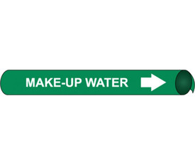 Precoiled White On Green Pipe marker Label For Make Up Water - Precoiled Pipe Marker Label for Make-Up Water, White text on Green