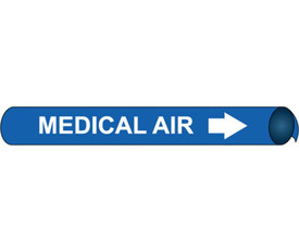 Precoiled White On Blue Pipe marker Label For Medical Air - Precoiled Pipe Marker Label for Medical Air, White text on Blue