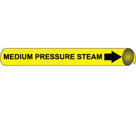 Precoiled Pipe marker Label For Medium Pressure Steam - Precoiled Pipe Marker Label for Medium Pressure Steam, Black text on Yellow
