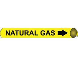 Precoiled Pipe marker Label For Natural Gas - Precoiled Pipe Marker Label for Natural Gas, Black text on Yellow
