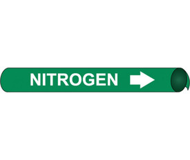 Precoiled White On Green Pipe marker Label For Nitrogen - Precoiled Pipe Marker Label for Nitrogen, White text on Green
