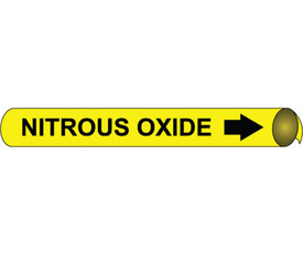 Precoiled Pipe marker Label Nitrous Oxide - Precoiled Pipe Marker Label for Nitrous Oxide, Black text on Yellow