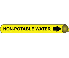 Precoiled And Strap On Pipe marker Label Non Potable Water - Precoiled Pipe Marker Label for Non-Potable Water, Black text on Yellow