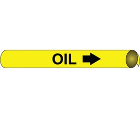 Strap On & Precoiled Pipe marker Black On Yellow Label Oil - Precoiled Pipe Marker Label for Oil, Black text on Yellow