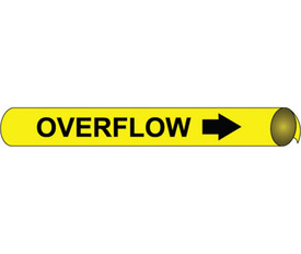 Strap On And Precoiled Pipe marker Label For Overflow - Precoiled Pipe Marker Label for Overflow, Black text on Yellow