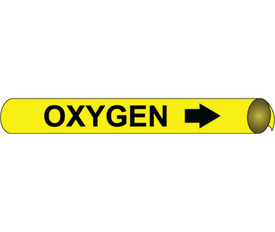 Oxygen Strap On & Precoiled Pipe marker Label - Precoiled Pipe Marker Label for Oxygen, Black text on Yellow