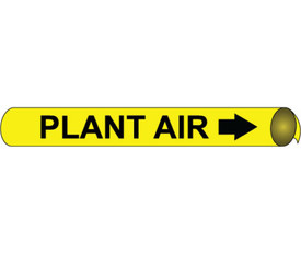 Plant Air Strap On & Precoiled Pipe marker Label - Precoiled Pipe Marker  Label for Plant Air, Black text on Yellow