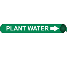 Plant Water Strap On Pipe marker White On Green Label - Precoiled Pipe Marker Label for Plant Water, White text on Green