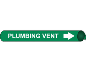 Precoiled And Strap On Pipe marker Label For Plumbing Vent - Precoiled Pipe Marker Label for Plumbing Vent, White text on Green
