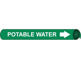 Strap On Pipe marker Label For Potable Water - Precoiled Pipe Marker Label for Potable Water, White text on Green