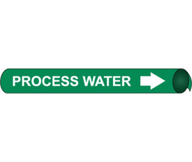 Strap On & Precoiled Pipe marker Label For Process Water - Precoiled Pipe Marker Label for Process Water, White text on Green