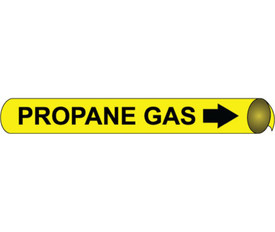 Precoiled Pipe marker Label For Propane Gas - Precoiled Pipe Marker Label for Propane Gas, Black text on Yellow