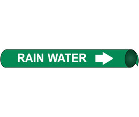 Precoiled And Strap On Pipe marker Label For Rain Water - Precoiled Pipe Marker Label for Rain Water, White text on Green