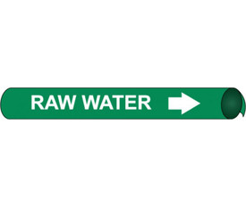 Strap On & Precoiled Pipe marker Label For Raw Water - Precoiled Pipe Marker Label for Raw Water, White text on Green