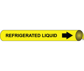 Precoiled Pipe marker Label Refrigerated Liquid - Precoiled Pipe Marker Label for Refrigerated Liquid, Black text on Yellow