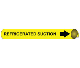Precoiled Pipe marker Label For Refrigerated Suction - Precoiled Pipe Marker Label for Refrigerated Suction, Black text on Yellow