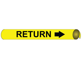 Return Precoiled And Strap On Pipe marker Labels - Precoiled Pipe Marker Label for Return, Black text on Yellow