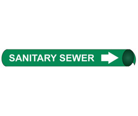 Sanitary Sewer Strap On & Precoiled Pipe marker Label - Precoiled Pipe Marker Label for Sanitary Sewer, White text on Green