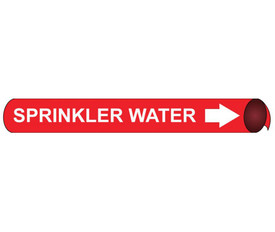 Sprinkler Water Precoiled White On Red Pipe marker Label - Precoiled Pipe Marker Label for Sprinkler Water, White text on Red