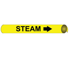 Strap On And Precoiled Pipe marker Label For Steam - Precoiled Pipe Marker Label for Steam, Black text on Yellow