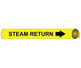 Precoiled Black On Yellow Pipe marker Label For Steam Return - Precoiled Pipe Marker Label for Steam Return, Black text on Yellow