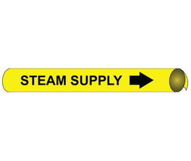 Steam Supply Precoiled Black On Yellow Pipe marker Label  - Precoiled Pipe Marker Label for Steam Supply, Black text on Yellow