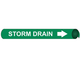Precoiled And Strap On Pipe marker Storm Drain - Precoiled and Strap on Pipe Marker Storm Drain, White text on Green