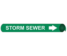 Storm Sewer Precoiled And Strap On Pipe marker Label - Precoiled and Strap on Pipe Marker Storm Sewer, White text on Green