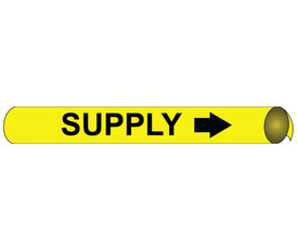 Made In USA Precoiled Pipe marker Label For Supply - Precoiled and Strap on Pipe Marker Supply, Black text on Yellow