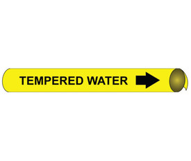 Tempered Water Precoiled And Strap On Pipe marker - Precoiled and Strap on Pipe Marker Tempered Water, Black text on Yellow
